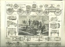 Original Steel Engraving From 1850s Cannon with Schematics and Architecture