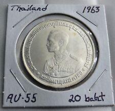 1963 20 Baht Silver Thailand Coin, 36th Anniversary Rama IX Commemorative