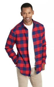 $125 Vineyard Vines Deepwood Knit Lined Flannel Shirt Men's Size XL Red/Blue NWT