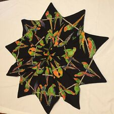 """Parrot Star Shaped with a Blue Velvet Backing Tablet Cloth- 44"""""""