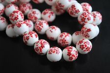 10pcs10mm Round Porcelain Ceramic Loose Spacer Beads Big Hole Charms Red Flowers