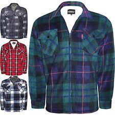 Men's Heavy Fleece Shirt Thick Lumberjack Sherpa Lined Zip Check Winter Top