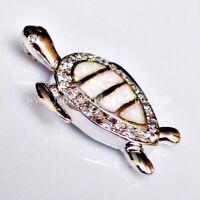 Eleganter Feuer Opal Zirkonia Anhänger Schildkröte 925er rhodiniert 28,5 x 21 mm