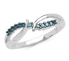 Blue Diamond Ring .925 Sterling Silver Open Twist Design Band .11ct Size 6