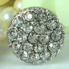 "6 Sparkling Clear Crystal/Rhinestone 5/8"" Silver Metal Buttons N021"