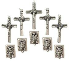 MRT Lot Of 10 Rosary Parts Cross & Ecce Homo Jesus Face Centerpiece Silvertone