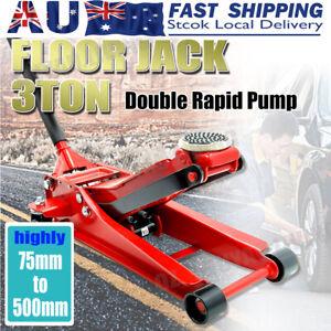 3 Ton Low Profile Trolley Jack Hydraulic Floor Car Lifter Dual Pump 75-500MM