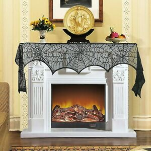Homekit Halloween Spider Web Fireplace Cover – Party Decoration – 244cm x 45cm