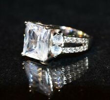 in 925 Sterling Silver, size 6 5.5ct Cz Princess Cut Designer Engagement Ring