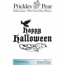 Prickley Pear Cling Rubber Stamp  CROWS Happy HALLOWEEN Crow Whimsical