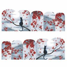 Nail Art Stickers Water Decals Transfers Cat Red Leaves (DB376)