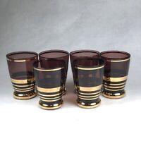Vintage Bohemian Czech Amethyst Glass Gold Trim Tasting Size Shot Cordial