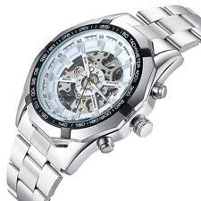 Luxus Herren Sport Mechanisch Armbanduhr Hohl Edelstahl Analog Militär Uhren NEU