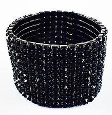 USA Bracelet Rhinestone Crystal Adjustable Bangle Wedding Bridal Black Fashion