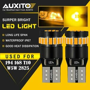 2X Amber T10 168 194 LED Front Side Marker Light Bulbs Yellow For Chevy Ford EOA