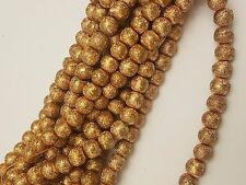 Matte Style Glass Pearl Beads, Gold Round, Spray Painted Style, 8~9mm, Hole: 1mm