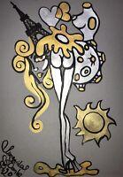 ORIGINAL Malerei PAINTING abstract Gold Silver erotic EROTIK akt nu sürrealismus
