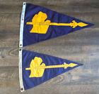 "Pair Vintage Michigan Nautical Pennant Flags Nylons Blue Gold 16""x24"" & 12""x18"""