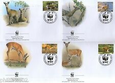 Swaziland 2001 Oribi Antelope Sc 698-701 Wildlife Animal Mammal Fauna WWF FDC 50