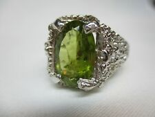MEN'S OR LADIES DESIGNER 7.60 CT  PERIDOT WITH SAPPHIRE ACCENTS  STERLING RING