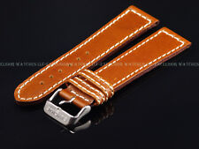 New Genuine OEM Glycine 22MM High Grade Brown Leather Strap W/ Signed SS Buckle