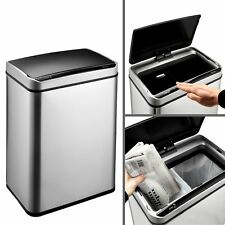 Dihl 50L Steel Dual Twin Compartment Recycling Recycle Automatic Dust Sensor Bin