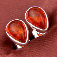 Party Gift Water drop Shaped Cognac Amber Gems Silver Stud Earrings For Woman