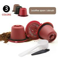 5pcs Refillable Reusable Coffee Capsule Filters Pods & Spoon for Nespresso