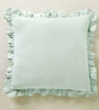 NEW NEXT LIGHT TEAL GREEN DUCKEGG BLUE FRILL FRILLED CUSHION WITH PAD 43 x 43 cm