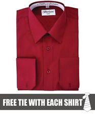 Berlioni Mens Convertible Cuff Solid Long Sleeve Dress Shirt Burgundy + FREE TIE