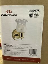Design House 4.5� W 1-Light Polished Brass Wall Sconce Frosted Etched Glass