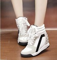 Womens Faux Suede Studded Mix Lace Up Wedge Platform Athletic High Top Sneakers
