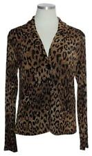 CHICO'S TRAVELERS $89 Stretch Knit One-Button Leopard-Print Jacket Top Size 0