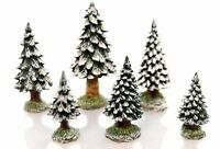 SNOWY EVERGREEN TREES S/6 #52612 DEPT 56 RETIRED DICKENS VILLAGE