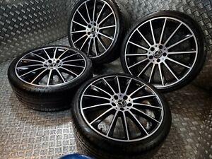 "Genuine OEM Mercedes E Class AMG Turbine 20"" Alloy Wheels + Tyres W213 Night Ed"