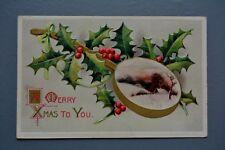 R&L Postcard: Vintage Christmas Greetings Embossed Banjo Holly, Davidson Bros