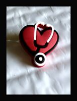 Authentic Jibbitz Nurse Shoe Charm Red Medical Heart With Stethoscope Crocs USA