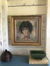 Curly HAIRSTYLE OIL PAINTING MID CENTURY Portrait pastel eclectic framed gold