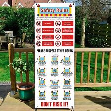 Bouncy Castle Safety Instructions, Rules, Sign X Banner System