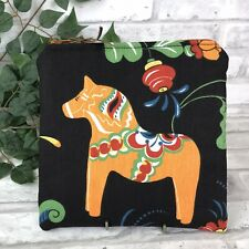 Swedish Dala Horse Black n Orange Dalahäst  Kurbits Zipper Pouch Makeup Bag