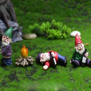 4X Fairy Garden Gnomes Accessories My Little Friend Drunk Gnome Dwarfs Statu