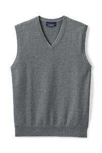 Lands'End Men's Fine Gauge Supima Cotton Sweater Vest Charcoal Heather M #459981