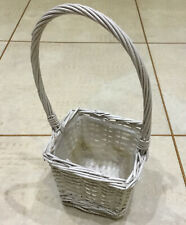 Small Square Cream/White Wicker Basket With Handle Flowers/Plants/Decorative