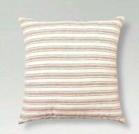 "2 x Pink & Cream Linen Stripe Throw Pillow (18""x18"") - Threshold"