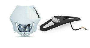 POLISPORT MMX WHITE Headlight Enduro Road Legal Rear LED Tail Light assembly