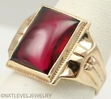 ORNATE Antique 1920's Art Deco Large 12ct Ruby Cabochon 10k Solid Gold Mens Ring