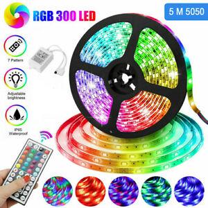 Flexible 3528/5050 RGB LED Strip Light Remote Room TV Party Bar Fairy Lights 5M