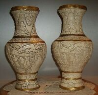 "Vintage Pair Asian Vases Chalkware 13"" tall x 6"" Diameter"