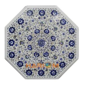 "24"" White Marble Coffee Table Top Lapis Floral Mosaic Inlay Art Furniture W194"
