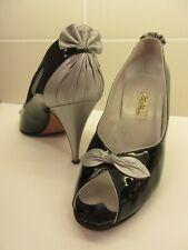 RENATA: Black & Silver Peep-Toe Court Shoe. Size 40/7. **LOW ££** **LOW PP**